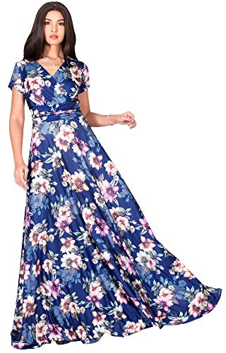 KOH KOH Petite Womens Long Cap Short Sleeve Floral Print Full Floor Length Sexy V-Neck Spring Summer Sundress Cocktail Evening Party Sun Gown Gowns Maxi Dress Dresses, Navy Blue & Pink S 4-6