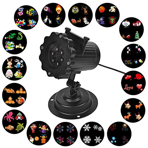 Signstek Film Projector Lights LED Projection Light with 16 Pattern Slide for Christmas, Birthday, Wedding, Halloween, Room, Outer (Halloween 6 1080p)