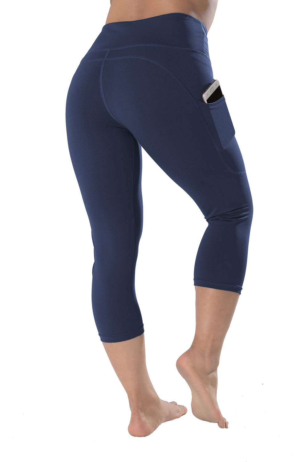 QYQ High Waisted Leggings with Pockets - Workout Leggings for Women Stretch Power Flex Yoga Pants - Full&Capri (X-Large, Navy-Capri) by QYQ