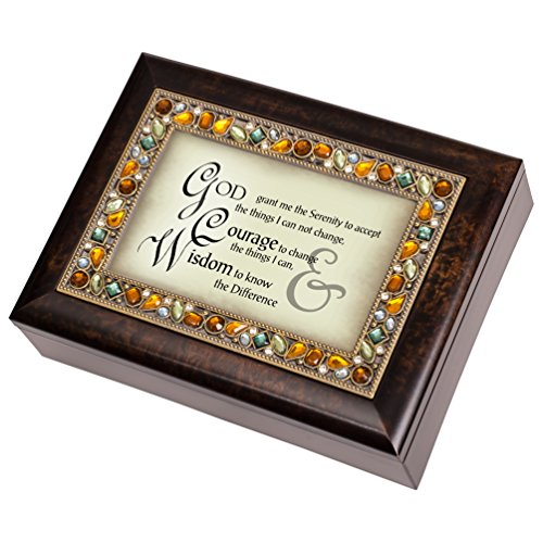 (Cottage Garden Serenity Prayer Italian Style Burlwood Finish Decorative Jewel Lid Musical Jewelry Box - Plays How Great Thou Art)