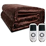 Heated Blanket, 100% Luxurious Supersoft Flannel, Electric Heating Bed Toppers with EasySet Control and Timer, Fast Heating Technology, Ultra-Fresh Anti-bacteria Extra Comfort, Coffee (QUEEN Size)