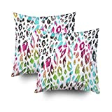 ROOLAYS Decorative Throw Square Pillow Case Cover 16X16Inch,Cotton Cushion Covers Beautiful fashionable floral jungle Both Sides Printing Invisible Zipper Home Sofa Decor Sets 2 PCS Pillowcase