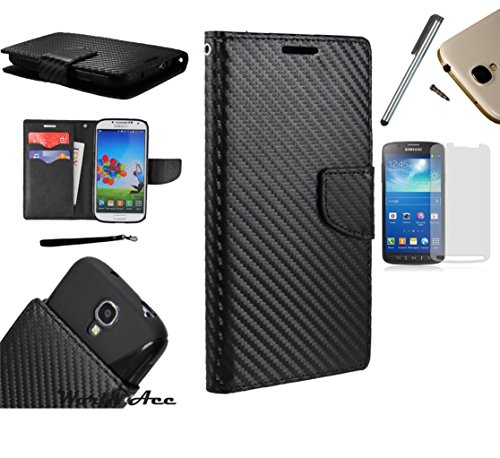 Photo - For Microsoft Lumia 550 Phone Case PU Leather Flip Cover Folio Book Style Pouch Card Slot Wallet + [WORLD ACC®] LCD Screen Protector+ Stylus (Black Carbon Fiber)