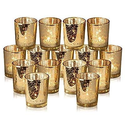 Rixon Grove Stunning Gold Mercury Votive Candle Holders - Set of 15