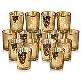 Rixon Grove Stunning Gold Mercury Votive Candle Holders - Set of 15 Elegant Glass Votives
