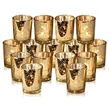 Premium Gold Votive Candle Holders - Set of 15 Mercury Glass Votives Add The Perfect Touch Of Ambiance And Elegance To Your Wedding Or Special Occasion - With Special Packaging To Ensure Safe Delivery