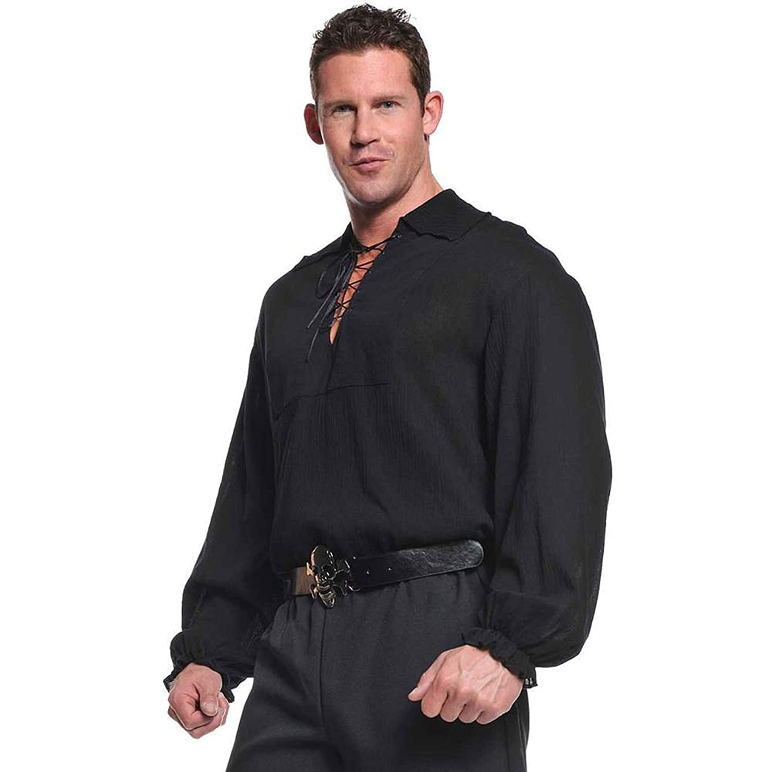 Underwraps Costumes Mens Renaissance Pirate Shirt Black