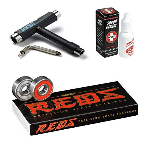Bones Reds Precision Skate Bearings (8 Pack w/Spacers & Washers & Speed Cream) (Reds + Speed Cream + CCS Skateboard Tool)