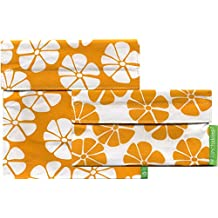 Lunchskins Reusable 2-Pack Velcro Bag Set, Yellow Lily (1 Sandwich + 1 Snack)