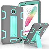 LG G Pad II 8.0 Case/G Pad F 8.0 Case,Kuteck Hybrid Protective Heavy Duty Rugged Shockproof Drop Resistance Anti-slip With Kick Stand Cover for LG G Pad 2 8.0 (V498), G Pad F 8.0 (Gray/Teal)