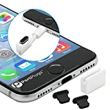 PortPlugs - Aluminum Dust Plugs (2 Pack) - Compatible iPhone 7, 8, Plus, X, XS, XS Max, XR - Includes Cord Holders and Cleaning Brush (Black)