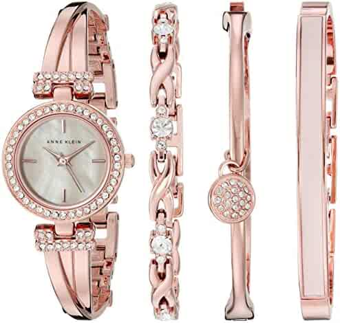 Anne Klein Women's AK/2238RGST Swarovski Crystal-Accented Rose Gold-Tone Bangle Watch and Bracelet Set