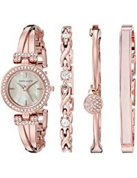 Women's AK/2238RGST Swarovski Crystal-Accented Rose Gold-Tone Bangle Watch and Bracelet Set