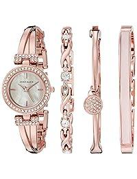 Anne Klein AK/2238RGST Women's Swarovski Crystal-Accented Bangle Watch and Bracelet, Rose Gold-Tone