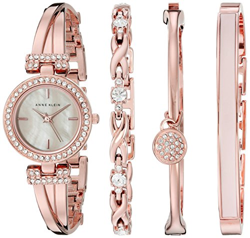 (Anne Klein Women's AK/2238RGST Swarovski Crystal-Accented Rose Gold-Tone Bangle Watch and Bracelet Set)