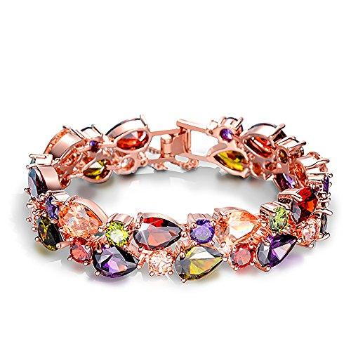 Fashion Swarovski Elements Crystal Rose Gold Plated Multicolor Flower Cubic Zirconia Jewelry Sets for Women, Gifts for Women (1, (Element Jewelry Bracelet)
