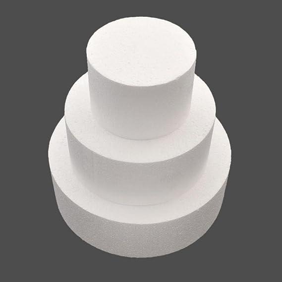 AT27clekca Cake Dummy Baking Accessories 4//6//8inch Round Styrofoam Foam Cake Dummy Sugarcraft Flower Decor Practice Model 4