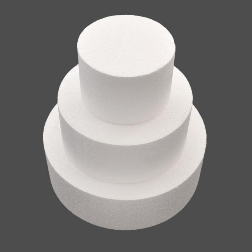 4/6/8inch Round Styrofoam Foam Cake Dummy Sugarcraft Flower Decor Practice Model Fake Dummy Cake Expanded Polystyrene Foam for Wedding Display Window, Decorating, Craft size 4