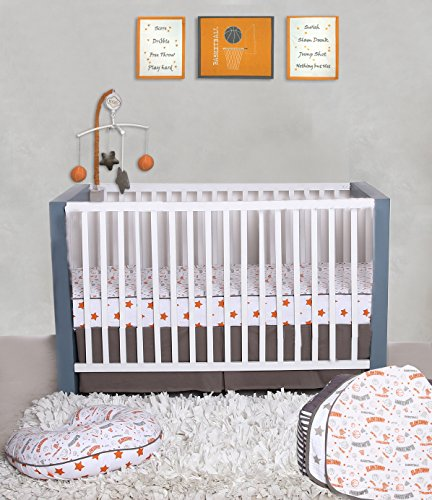 Bacati Basketball 100% Cotton 3 Piece Boys Crib Set with 4 Layer Lux Blanket/Fitted Sheet/Skirt, (Basketball Crib)