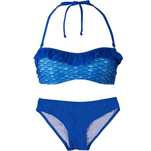 Fin Fun - Mermaidens - Bikini bandeau para mujer - Estampado de escamas - Estilo sirena Azul ártico/azul real