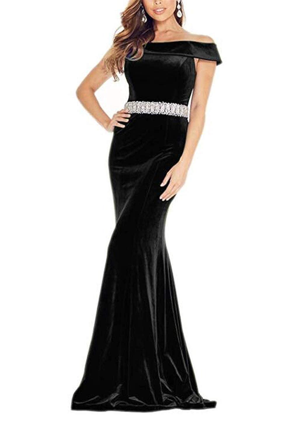 Black alilith.Z Off The Shoulder Mermiad Velvet Prom Dresses Long Formal Evening Dresses for Women with Beaded Belt