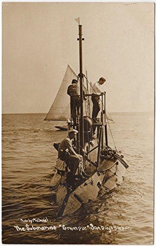 RP Postcard The Submarine Grampus in the San Diego, California Harbor~94534