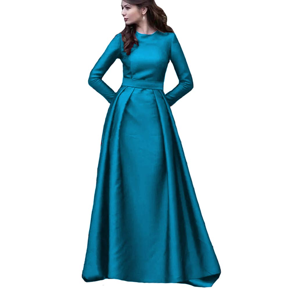 bluee KaBuNi Women's Long Sleeve A line Wedding Dresses Formal Prom Dresses