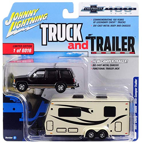 """1997 Chevrolet Tahoe Dark Cherry with Camper Trailer Limited Edition to 6,016 pieces""""Truck and Trailer"""" Series 2""""Chevrolet Trucks 100th Anniversary"""" 1/64 Diecast Model by Johnny Lightning JLSP016 from Johnny Lightning"""