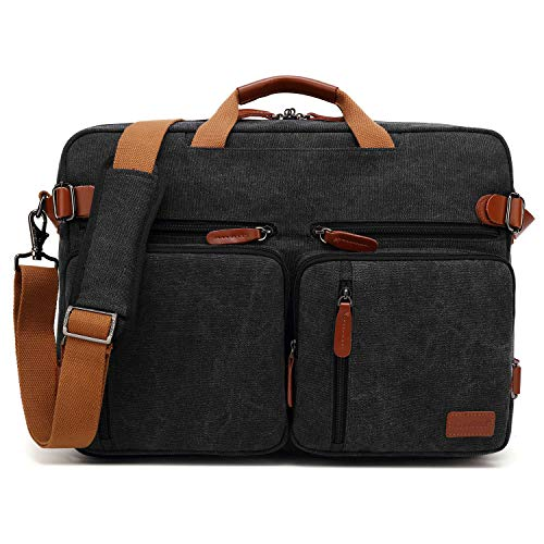 CoolBELL Convertible Backpack Messenger Bag Shoulder Bag Laptop Case Handbag Business Briefcase Multi-Functional Travel Rucksack Fits 15.6 Inch Laptop for Men/Women (Cancas Black)