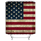 GladsBuy America Flag Decor Collection Waterproof Bathroom Shower Curtain with Hooks Eco-friendly Anti-bacteria Polyester SC057