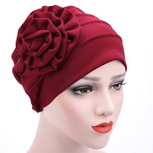 tton Flower Hat Shower Hat Hair Loss Cap Bonnet Beanie Baggy Cap Turban Hijab Wrap(Wine Red) ()