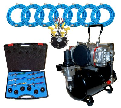 MASTER Airbrush S66 Studio Set with TC-828 Twin Tank Compressor by AirburshDepot