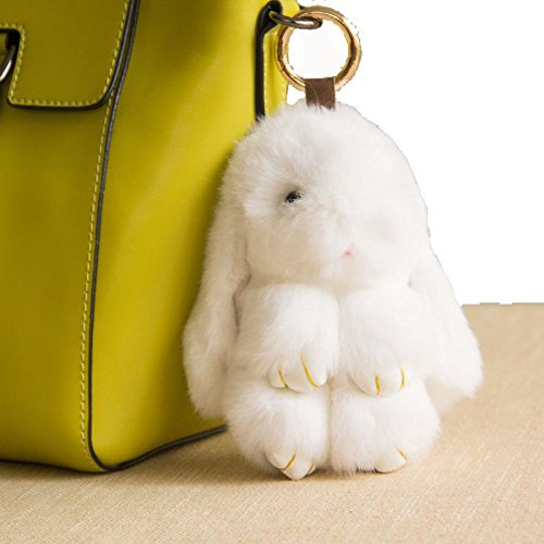 YISEVEN Stuffed Bunny Keychain Toy - Soft and Fuzzy Large Stitch Plush Rabbit Fur Key Chain - Cute Fluffy Bunnies Floppy Furry Animal Doll Gift for Girl Women Purse Bag Car Charm - White