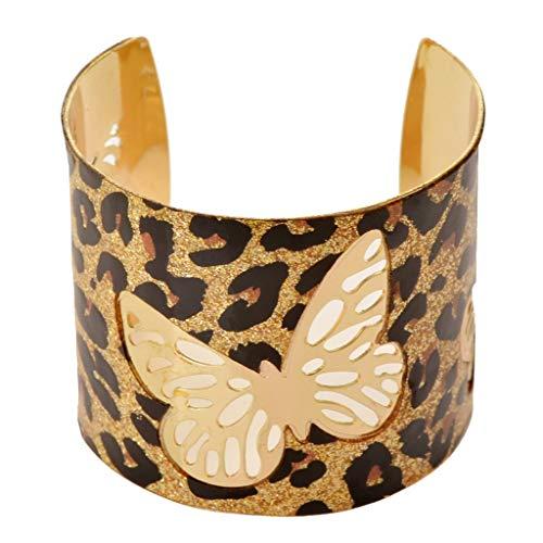 SUMAJU Wide Cuff Bracelet, 1.97 Inch Vintage Leopard Print Bangle Butterfly Hollowed Hoop Open Ended Jewelry for Women Girls