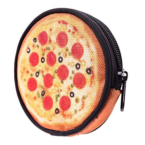 Geldbeutel Runde Geldbörse mit Reißverschluss Taschenorganizer Münzbörse Pizza [041]