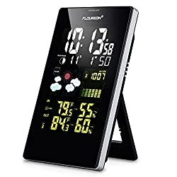 FLOUREON Wireless Home Weather Station, Digital Color Forecast Station with Sensor,Battery Operated Alarm Clock Desktop Weather Station Wireless Temperature and Humidity Monitor