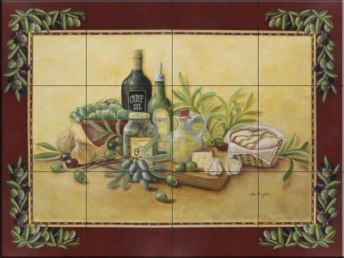 Ceramic Tile Mural - Tuscan Bounty with Border- by Rita Broughton - Kitchen backsplash / Bathroom shower