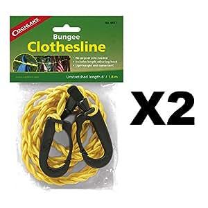 Coghlan's 0433 Adjustable Bungee Clothesline, length 6' - 2 PACK