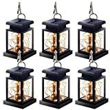 Solar Lantern Lights Outdoor, 6 Pack Hanging Lanterns Lights Solar Powered Waterproof Umbrella Lanterns Solar Lights Solar Led Hanging Decorative Light