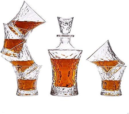 FIOYHLAQy, Juego de decantador de cristal de whisky para hombres, vasos de whisky de cristal y decantador con caja de regalo de lujo, para whisky, bourbon, tequila, vodka y whisky irlandés, 7 piezas