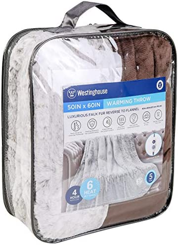 "Westinghouse Electric Blanket Heated Throw Luxury Faux Fur to Flannel Reversible Heating Blanket 50""x60"", 6 Heat Settings & 4 Hours Auto Off, Machine Washable, Snow Grey 50x60in"