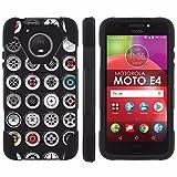 [Mobiflare] Mil-Spec for Motorola Moto E [4th Gen] [Black/Black] Dual Layer Armor Case [Kickstand] - [JDM Wheels]