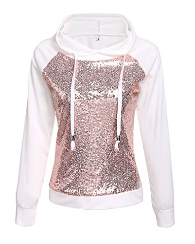 Qearl Women's Drawstring Hooded Long Sleeve Sequined Pullover Hoodies Sweatshirt (M, (Sequined Drawstring)