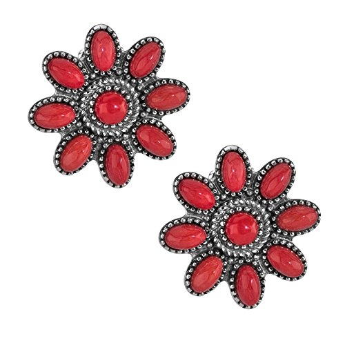- American West Sterling Silver Red Coral Gemstone Cluster Button Post Earrings