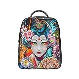 COLORSFORU(TM)Japanese Geisha PU Japanese Style Backpack Satchel School Book Bag