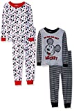 Disney Toddler Boys' Mickey Mouse 4-Piece Cotton Pajama Set, Classic Gray, 3T
