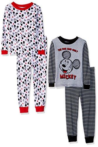 - Disney Boys' Toddler Mickey Mouse 4-Piece Cotton Pajama Set, Classic Gray, 4T