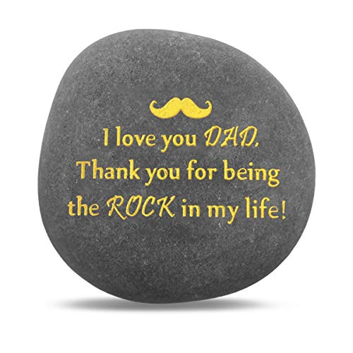 Unique Gift for Dad - Thank You for Being My Rock, Fathers Day Birthday Wedding Gifts for Papa from Daughter Son Kids, Novelty Keepsake Paperweight Pebble Stone Engraved Rock with - Stone Word Engraved