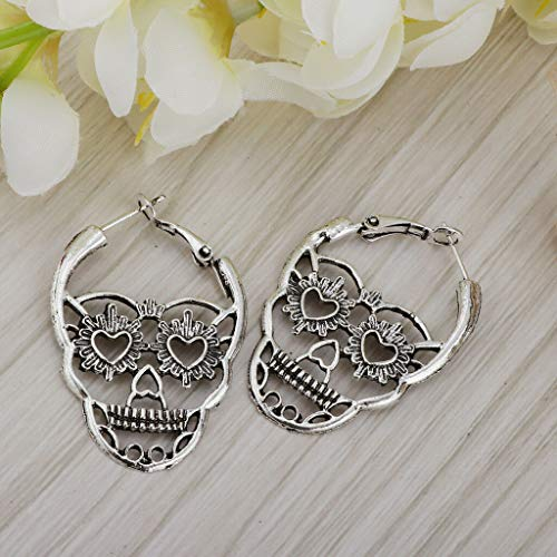 Skeleton Skull Face Earrings Hook Dangle Earrings Halloween Theme Ear Studs Necklace Jewelry Crafting Key Chain Bracelet Pendants Accessories Best| Color - Silver -
