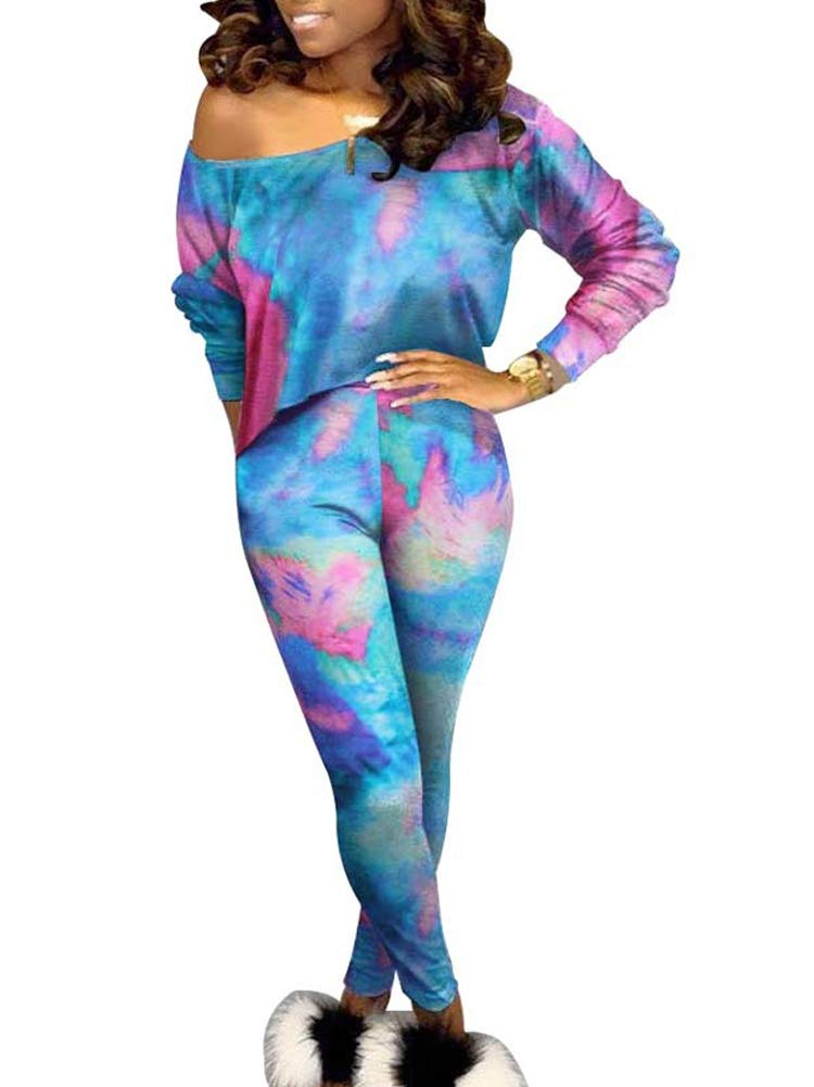 Bodycon Outfit for Women 2 Piece Off Shoulder Colorful Print Crop Top Set Long Pants Outfits Set Blue S by NVXIYYA